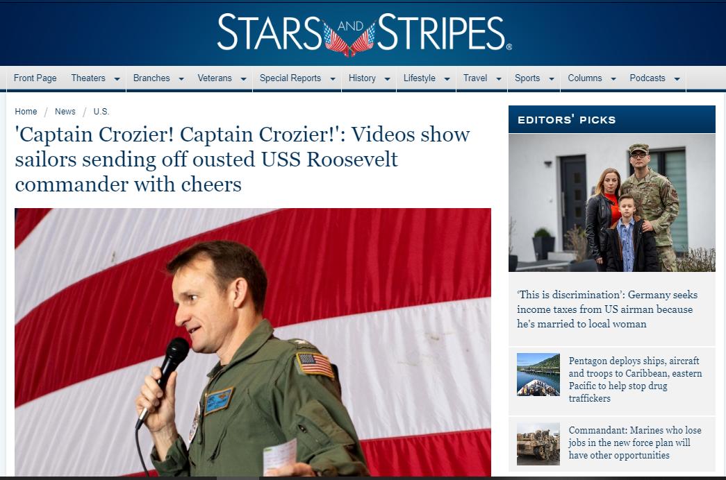 """""""罗斯福""""号航母舰员送别被革职舰长的场面,让人有点害怕"""