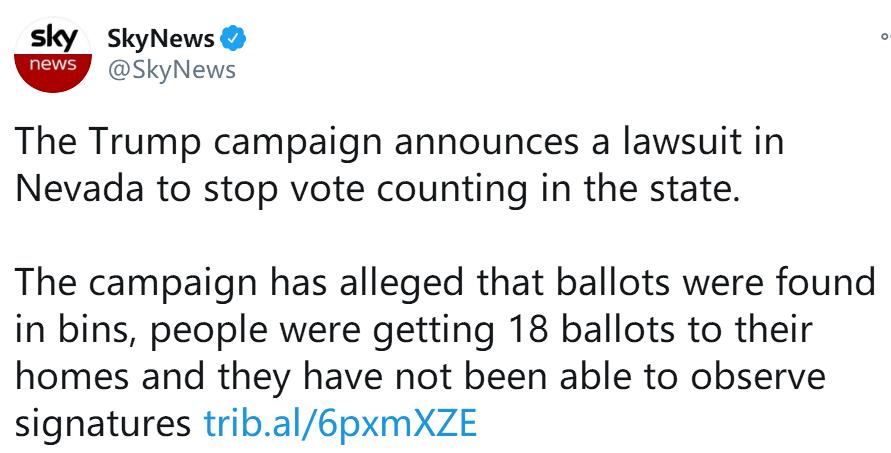 快讯!外媒:特朗普竞选团队宣布在内华达州提起诉讼 第1张