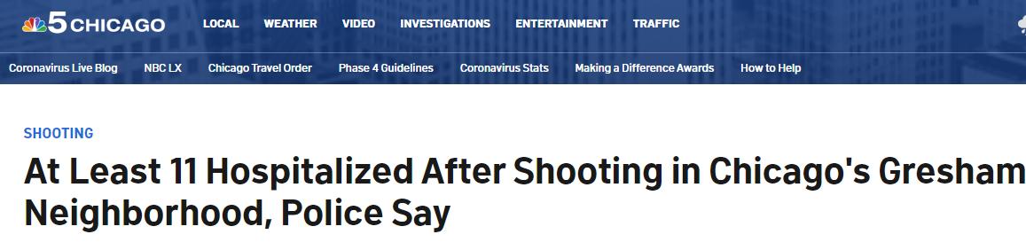 快讯!芝加哥突发大规模枪击事宜,至少11人受伤 第1张