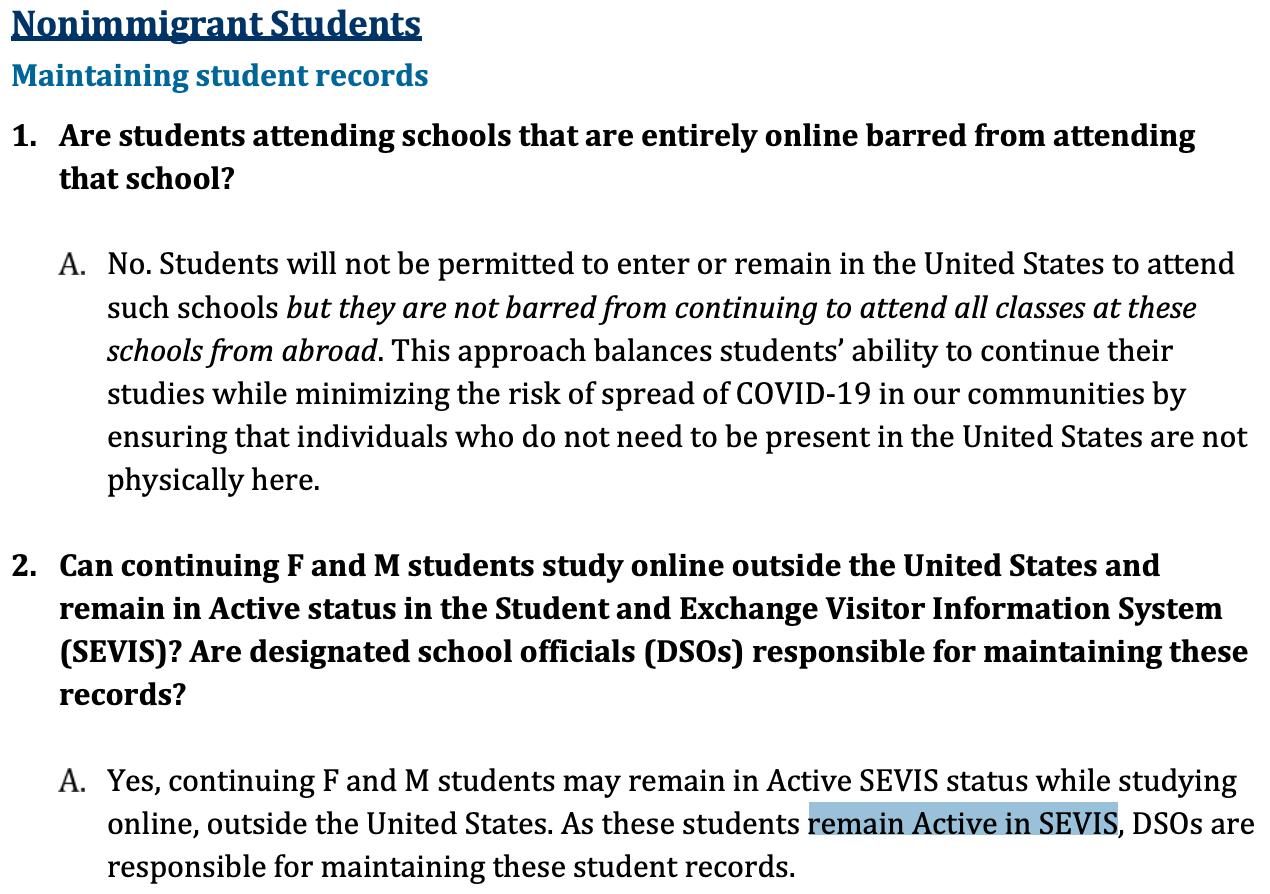 欧博亚洲:迫于压力松口!美国入境与海关执法局(ICE)修改针对留学生的签证新政