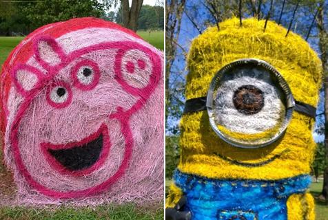 美国艺术家玩转干草垛 塑造大量动漫人物