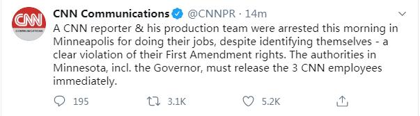 快讯!美国明尼苏达州州长为3名CNN工作人员被逮捕致歉