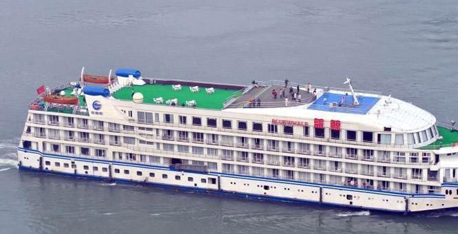 """首艘支援武汉的""""蓝鲸""""号游轮抵达武汉"""
