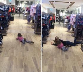 熊孩子怎么治?英国妈妈哄娃绝招:趴在地上一起哭