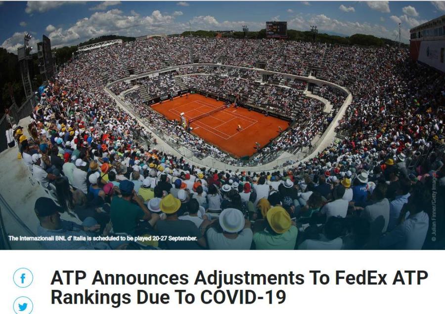 ATP临时更改积分排名计算方式 三巨头或将受益