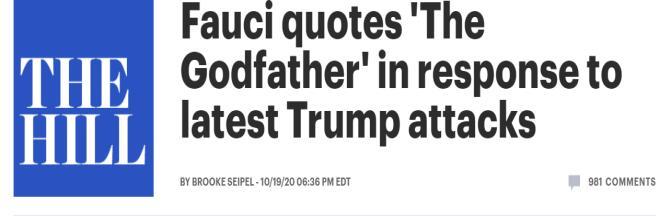 """被特朗普炮轰""""是场灾难"""",福奇引用《教父》经典台词回击"""