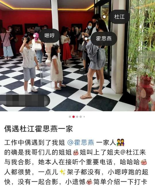 网友偶遇杜江一家看画展霍思燕穿吊带背心秀好身材