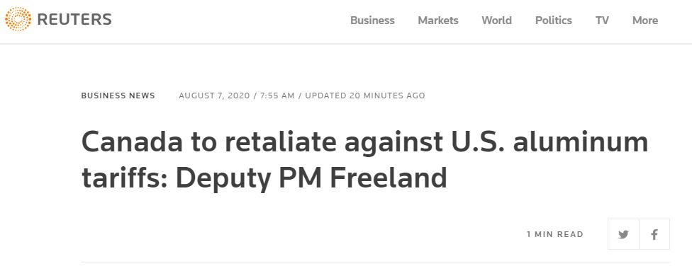 美国宣布对加拿大部分铝产品恢复加征10%关税,加方迅速回应:将对等反制!