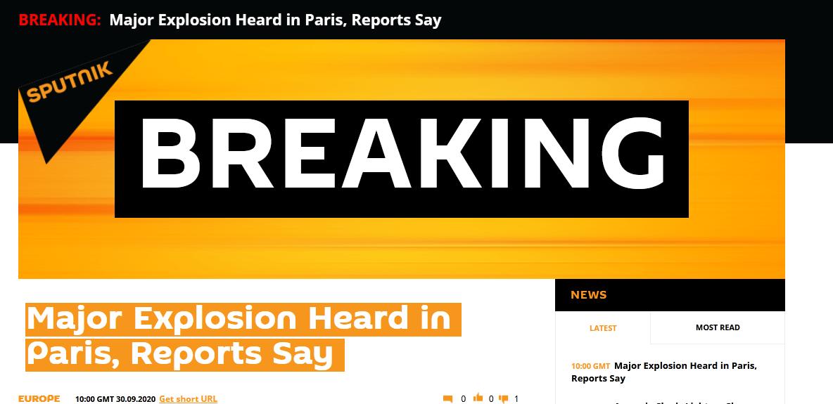 快讯!俄媒:巴黎传出伟大爆炸声