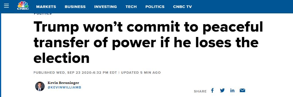 """被问""""能答应若是败选权力会和平移交吗?""""特朗普:得看看到时会发生什么 第2张"""