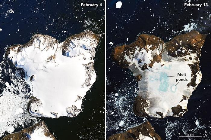 南极遭遇热浪袭击鹰岛冰雪出现大面积融化