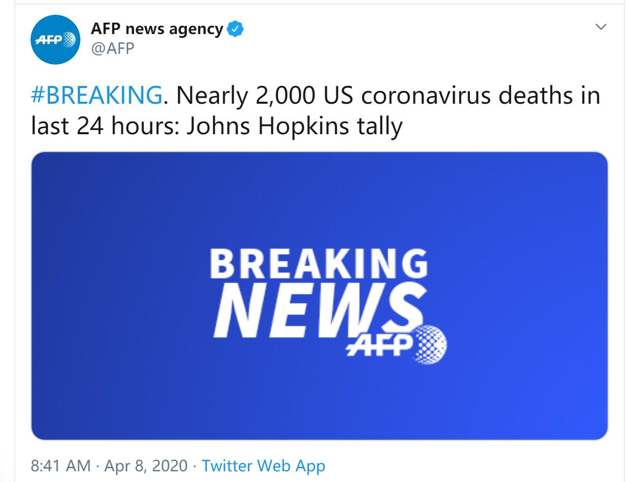 外媒:美国单日新增死亡病例近2000例,系目前最高