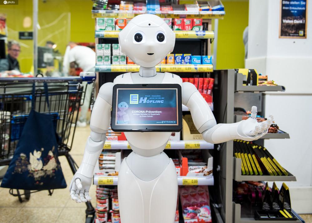 德国超市机器人服务员?温馨提醒顾客安全购物