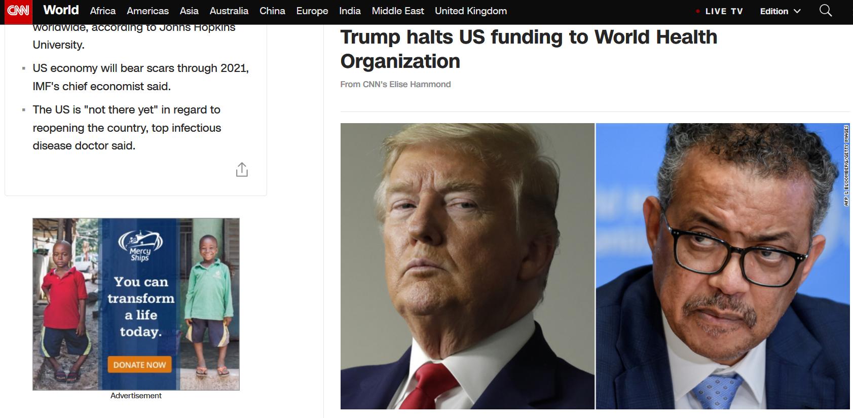 特朗普宣布美国将暂停资助世卫组织,同日美国确诊病例跨越60万