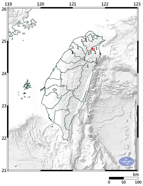 台湾宜兰县发生4.1级有感地震 地震深度71.1公里