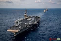 美国航母3名水兵确诊感染?10天前在南海秀肌肉