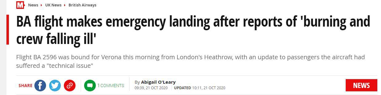 """突发!英国一架客机起飞后返航,""""机上有烧焦气味、机组人员感觉不适"""""""