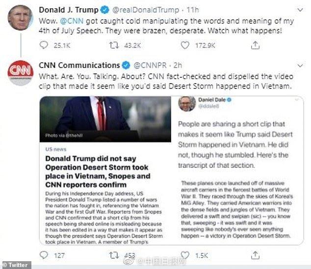 allbet注册:'训'斥CNN<窜>改自己 的[独]立日演讲特 朗普发《推》威胁:〖走