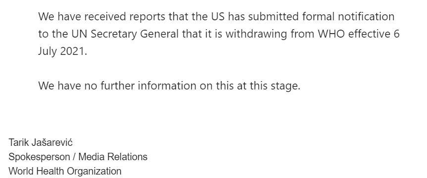 allbet官网开户网址:世卫组织:已收到美国退出世卫组织讲述 美国仍拖欠约两亿美元会费