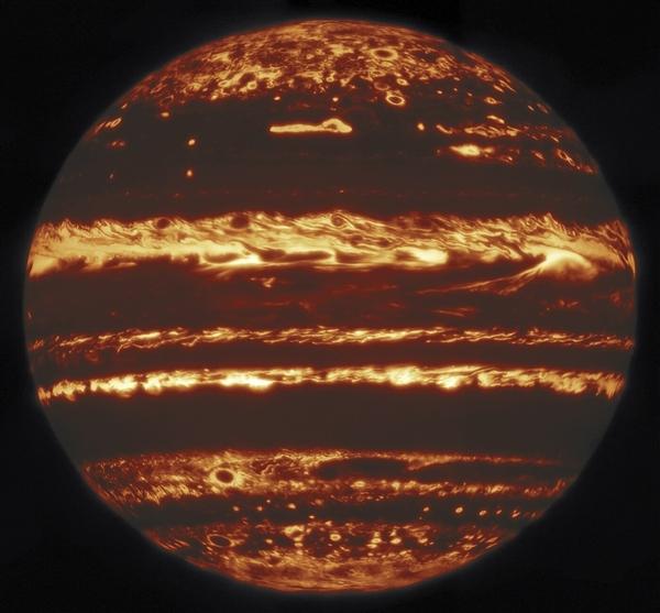 科学家在地球拍下木星完整红外照片 可一窥木星内部