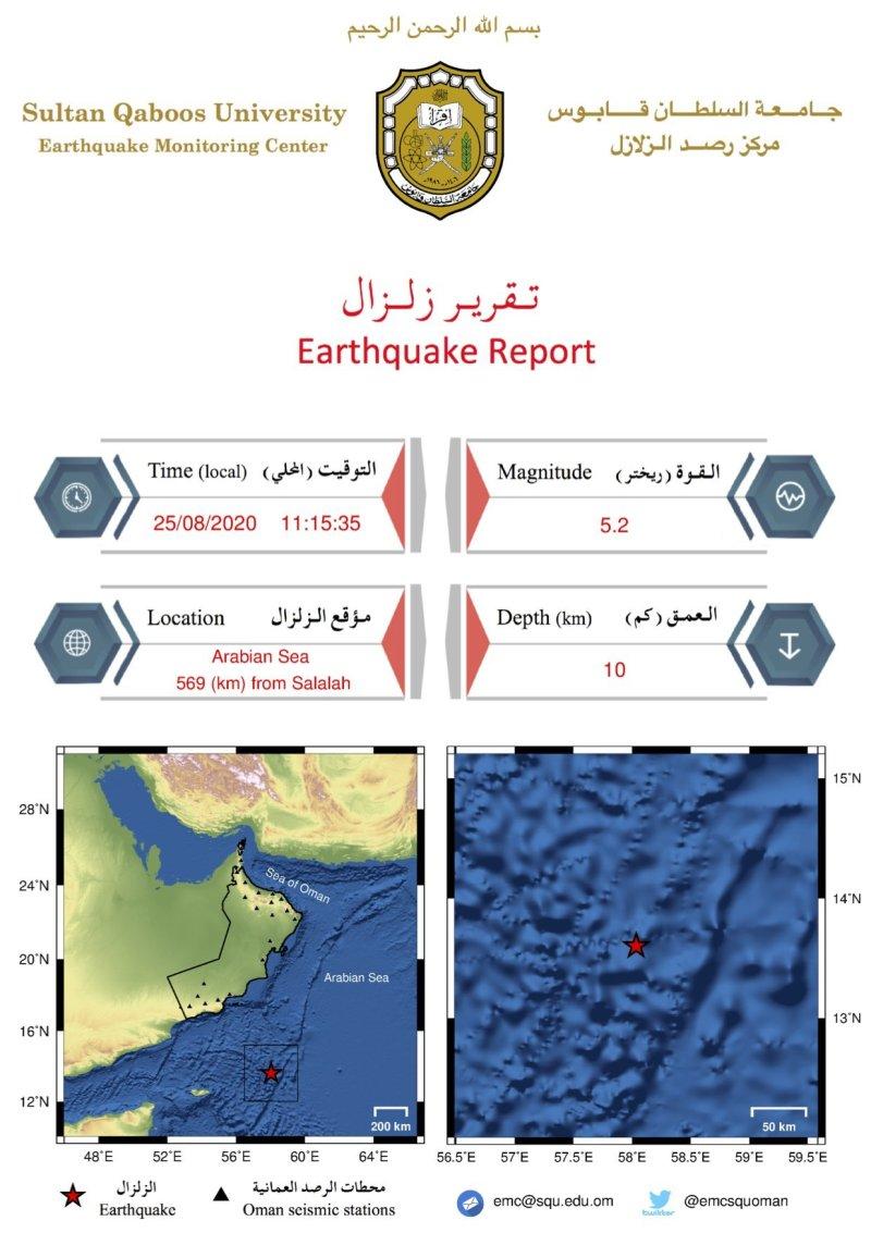 皇冠官网手机版:阿曼南部海域发生5.2级地震 震源深度10公里