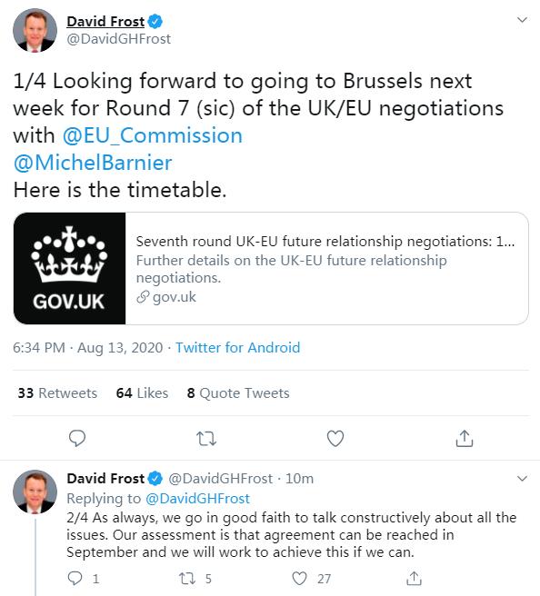"""大发888在线:英国""""脱欧""""谈判首席代表:英欧预计9月可杀青""""脱欧""""协议 第1张"""