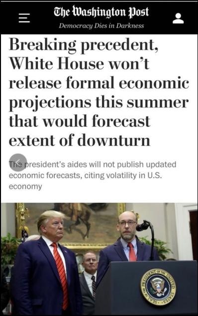 史无前例取消年中经济预测 特朗普不敢面对事实