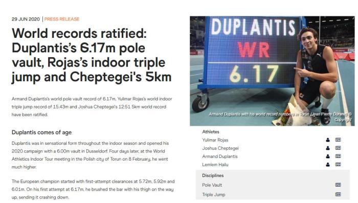世界田联:三项新世界纪录获得认证