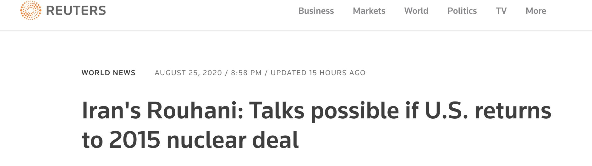 """伊朗总统:美国若想谈判 需重回""""伊核协议"""""""