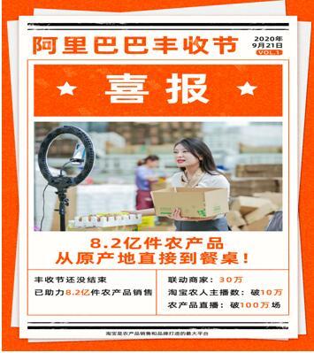 丰收节淘宝助农1个月:联合30万商家卖出8.2亿件