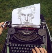 决定了!赞比亚23岁建筑系学生用老式打字机作画