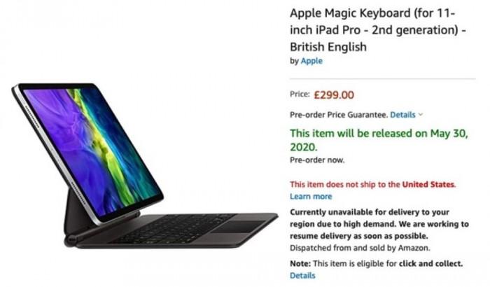 iPadPro 的绝妙搭档妙控键盘在亚马逊英国网站现身,发货日期为5月30日