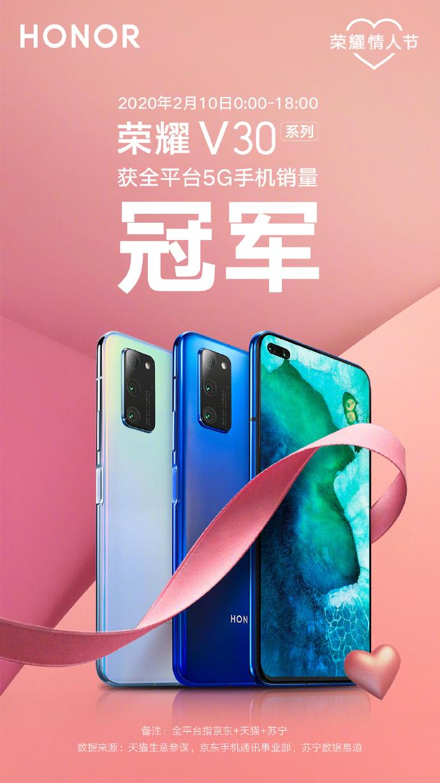 荣耀V30系列斩获当日全平台5G手机销量冠军