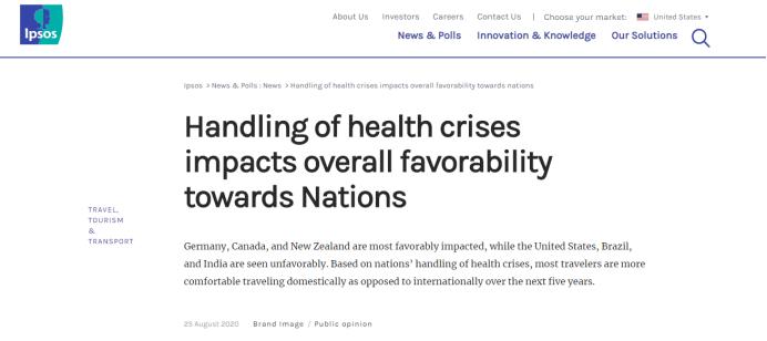 皇冠注册:益普索民调:疫情应对净支持率,美国在50个国家和地区中排倒数第一