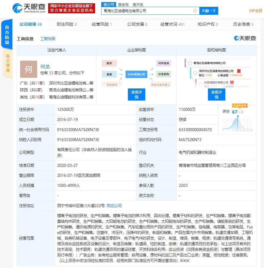 又一家!王传福卸任青海比亚迪锂电池法定代表人、董事长