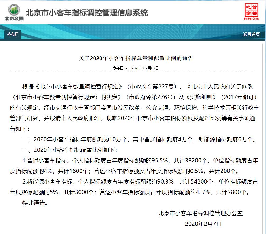 北京2020年普通小客车个人指标额度38200个比2019年多200个指标配额