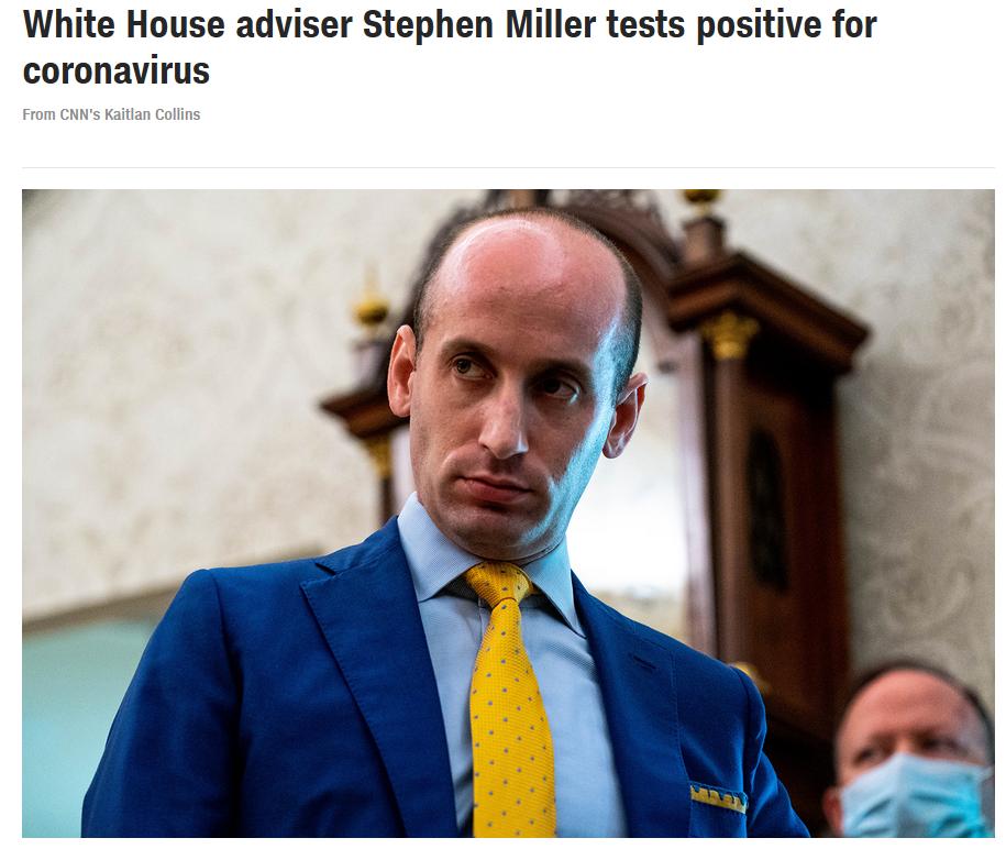 快讯!白宫高级顾问斯蒂芬·米勒新冠病毒检测效果呈阳性