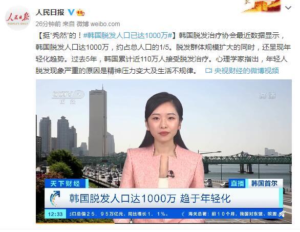 """挺""""秃然""""的!韩国脱发人口已达1000万 第1张"""