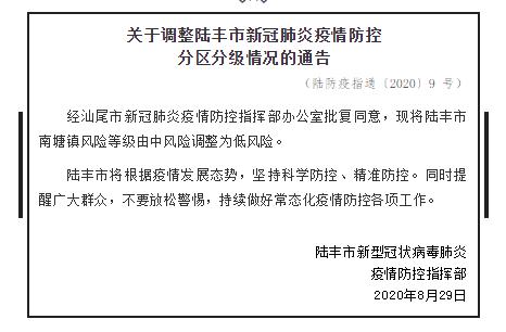 陆丰市:南塘镇风险等级由中风险调整为低风险