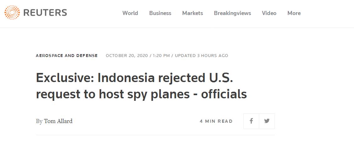 印尼拒绝美间谍机降落请求,印尼前副外长:我们不想被骗进反华运动中