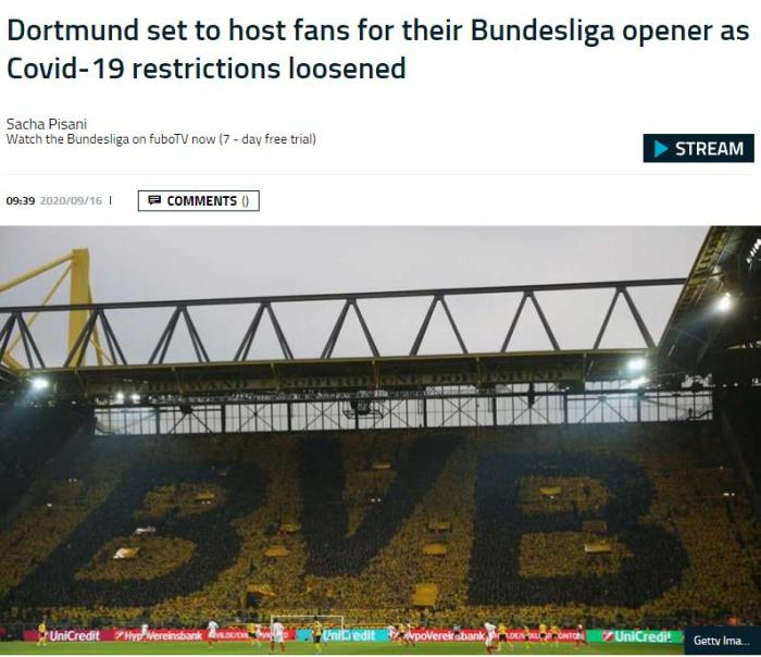 德甲首轮多特战门兴 将有近万球迷入场观战