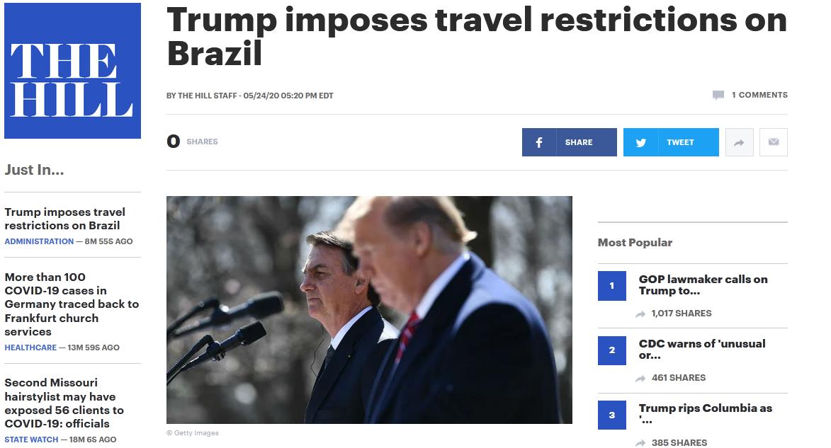 白宫对巴西实行旅行禁令  巴西疫情有多严重?