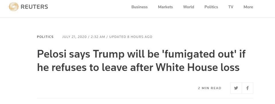 佩洛西:如果特朗普败选后不愿离开白宫,就用烟把他熏出去!