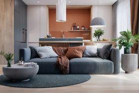 橙蓝配色,视觉冲击!78平摩登时尚公寓
