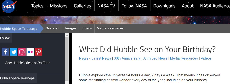 "NASA上线""生日宇宙""专题:网友可查生日当天的宇宙图像"