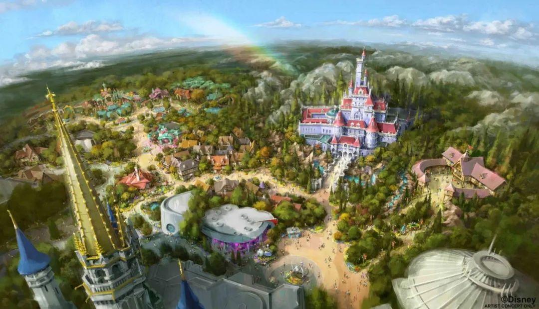 迪士尼新园区曝光!首个美女与野兽主题园区,粉紫色城堡梦幻似动画!