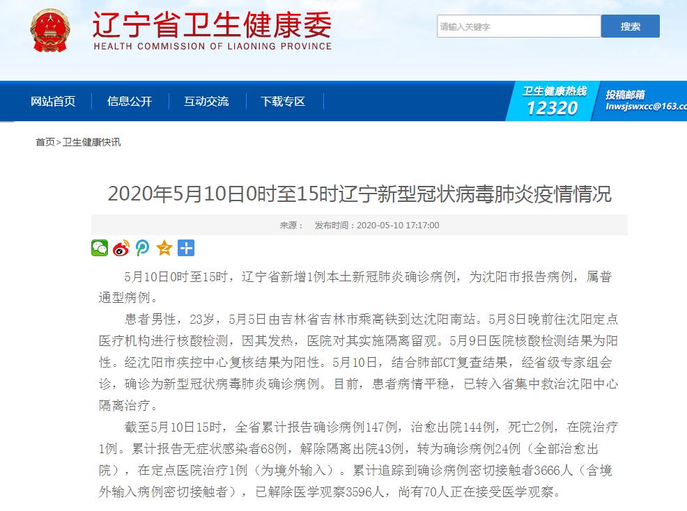 5月10日0时至15时,辽宁沈阳新增1例本土新冠肺炎确诊病例,患者曾去过吉林