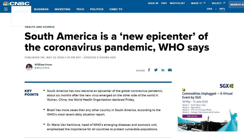 """世卫组织官员最新警告:南美已成新冠疫情新""""震中"""""""