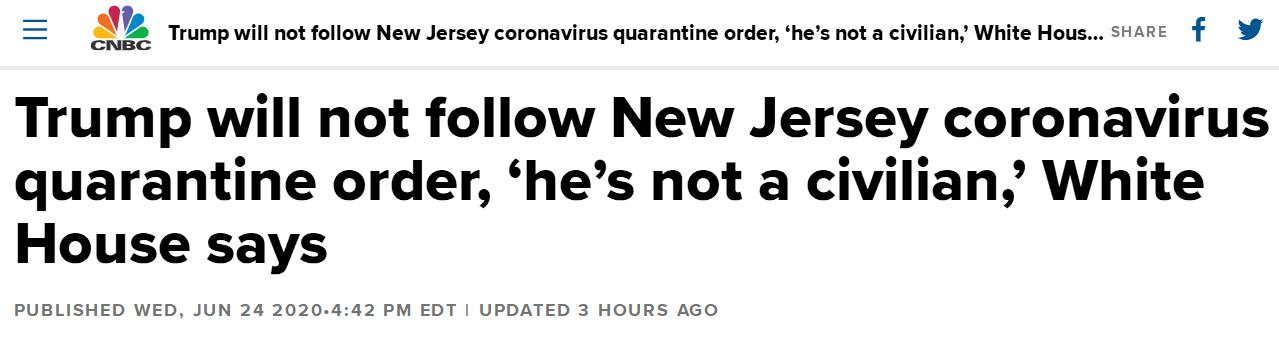 """欧博亚洲官网开户网址:不会遵守新泽西州隔离令!白宫声明:特朗普不是""""平民"""""""
