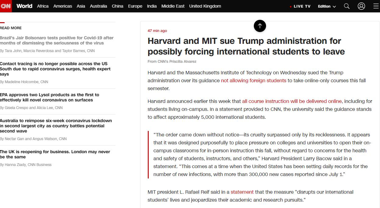 allbet gmaing官网:美国宣布收紧国际学生签证,哈佛和麻省理工起诉特朗普政府 第1张